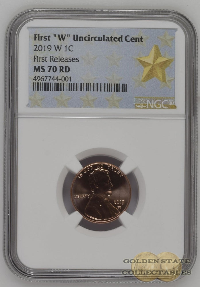 "2019 1st ""W"" Uncirculated Lincoln Cent NGC MS70 RD First Releases POP 65"