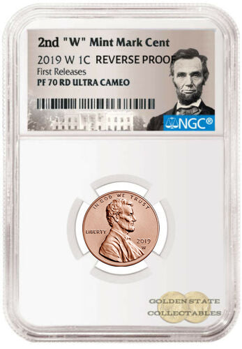 "2019 2nd ""W"" Penny NGC PF70 RD Ultra Cameo Reverse Proof First Releases Lincoln Portrait Label"