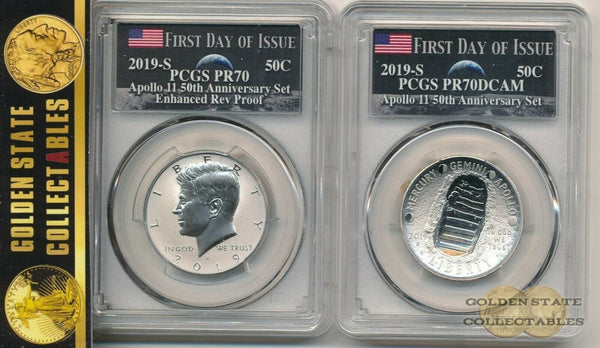 2019 Apollo 11 Anniversary Set Pcgs Pr70 & Dcam First Day Of Issue W Penny
