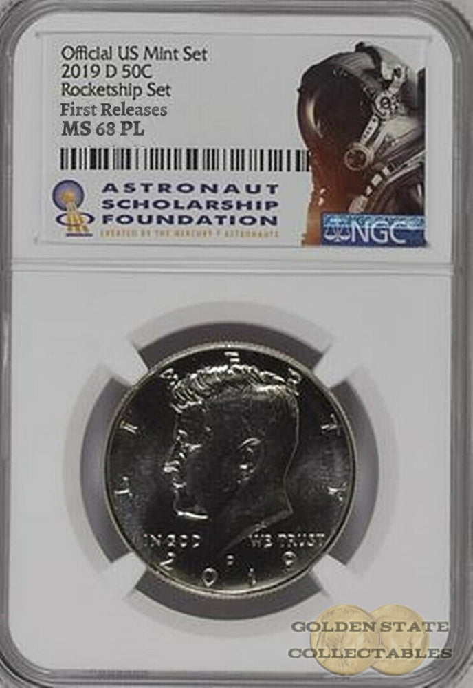 2019 D 50c Kennedy ProofLike NGC MS 68 PL ROCKET SHIP SET First Releases