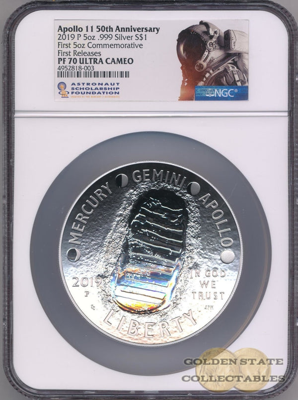 2019 P Apollo 11 50Th Anniversary Proof 5 Oz Silver Coin Ngc Pf70 First Releases Commemorative