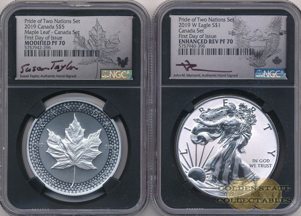 2019- Pride of Two Nations SILVER Canadian-Set NGC PF70 FDOI Mercanti + Taylor SIGNED First Day of Issue