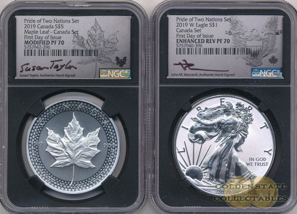 2019- Pride Of Two Nations Silver Canadian-Set Ngc Pf70 Fdoi Mercanti + Taylor Signed First Day