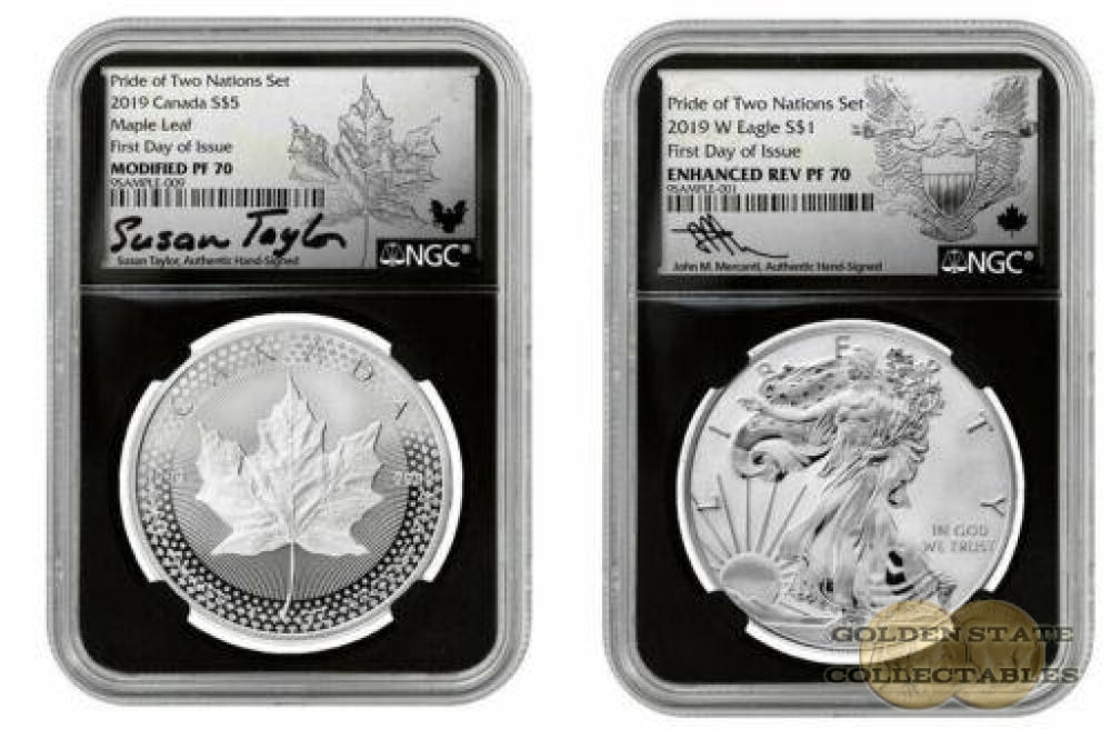 2019- Pride of Two Nations SILVER US-SET NGC PF70 FDOI Mercanti + TAYLOR SIGNED First Day of Issue
