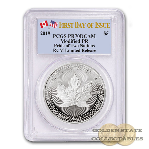2019 Rcm Limited Release Maple Leaf Coin Pride Of Two Nations Pr70 Dcam Pcgs First Day Issue