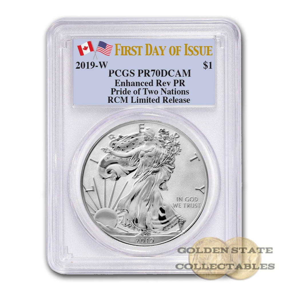2019 RCM Limited Release Reverse Proof Silver Eagle Pride of Two Nations PR70 PCGS First Day of Issue
