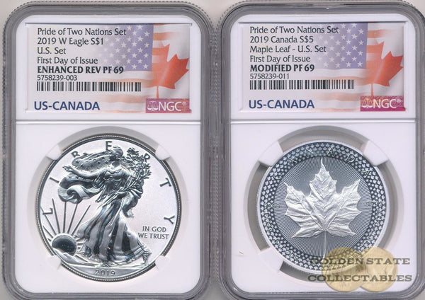 2019 Reverse Proof Silver Eagle & Maple Leaf - Pride Of Two Nations Mint Us-Set Ngc Pf69 First Day