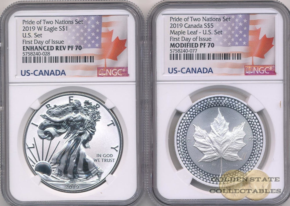 2019 Reverse Proof Silver Eagle & Maple Leaf - Pride of Two Nations Mint US-Set NGC PF70 First Day of Issue