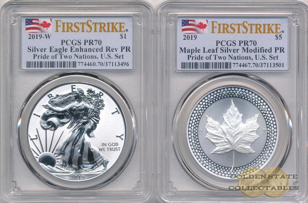 2019 REVERSE PROOF Silver Eagle & Maple Leaf - Pride of Two Nations US-Set PCGS PR70 First Strike