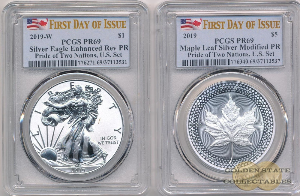 2019 REVERSE PROOF Silver Eagle & Maple Leaf - Pride of Two Nations US Set PCGS PR69 First Day of Issue
