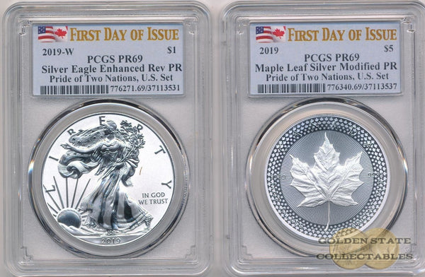 2019 Reverse Proof Silver Eagle & Maple Leaf - Pride Of Two Nations Us Set Pcgs Pr69 First Day Issue