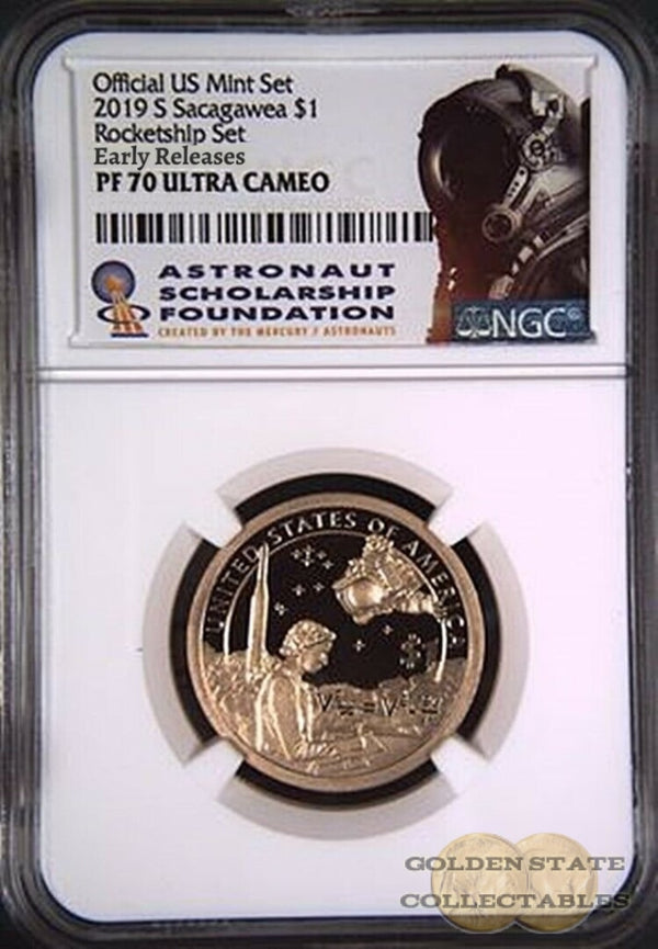 2019 S $1 Proof Sacagawea Dollar Ngc Pf 70 Ucam Rocket Ship Early Releases Rocket Ship Set