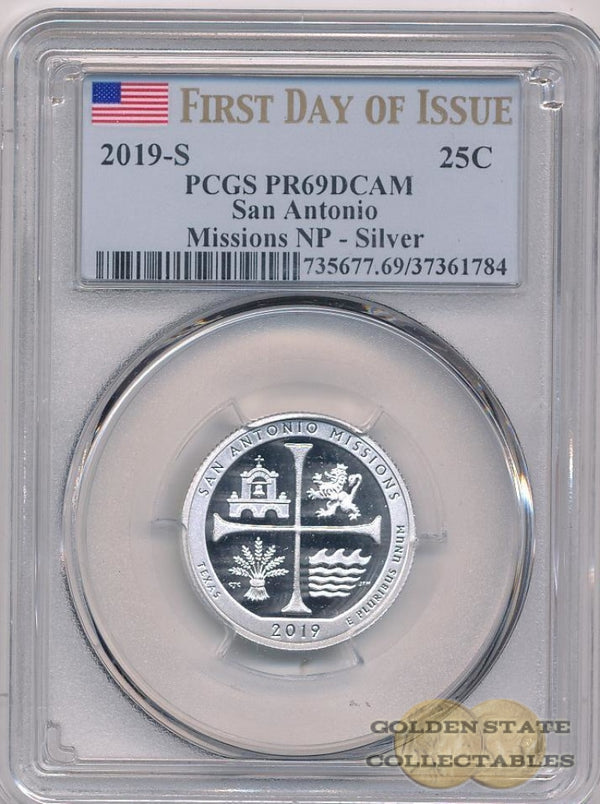 2019-S 25C San Antonio Missions Np Pcgs Pr69 Dcam First Day Of Issue Silver
