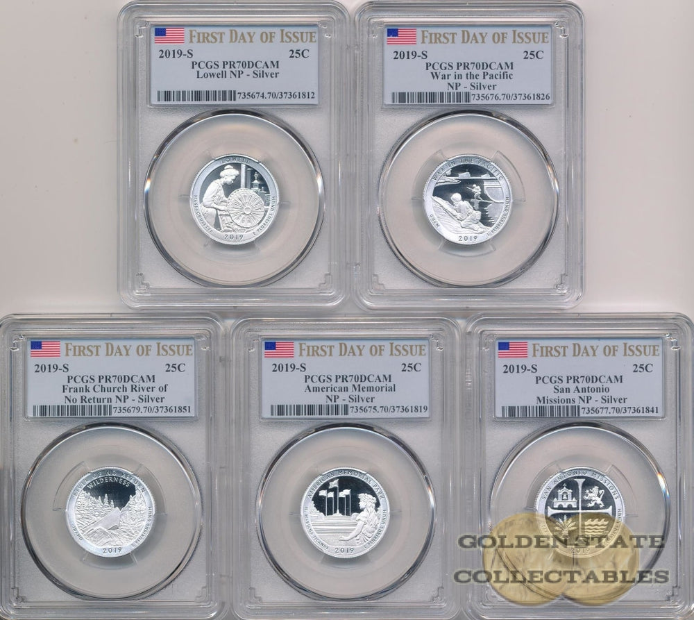2019-S America the Beautiful Silver Proof Quarter Set PR70 DCAM PCGS First Day of Issue (5 Coins)