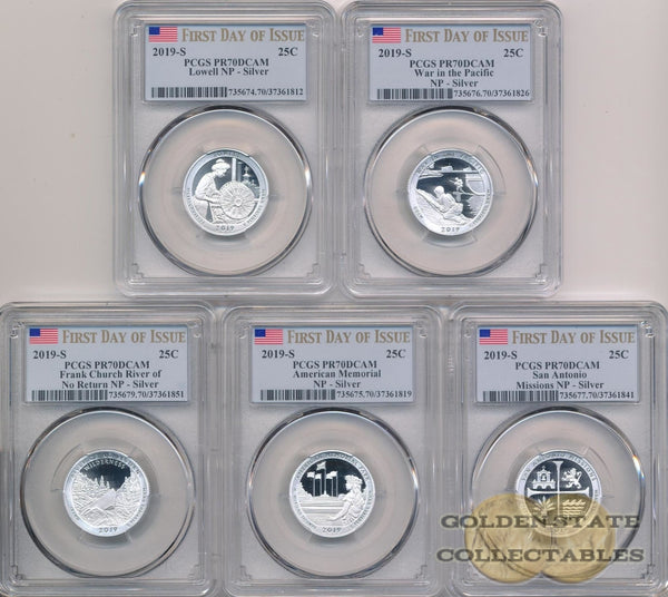 2019-S America The Beautiful Silver Proof Quarter Set First Day Of Issue (5 Coins) Quarters
