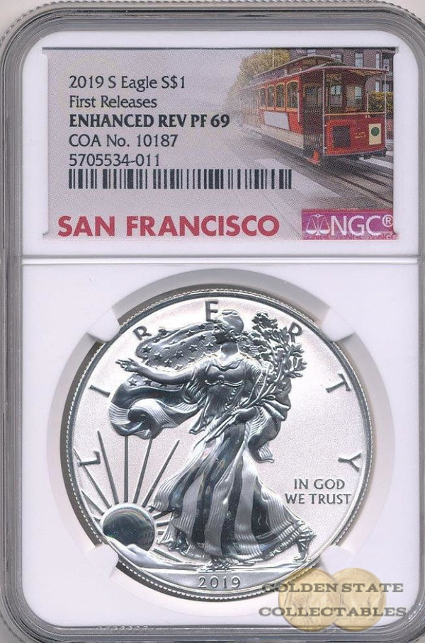 2019 S Enhanced Reverse Proof Silver Eagle Ngc Pf69 First Releases (Coa #10187)
