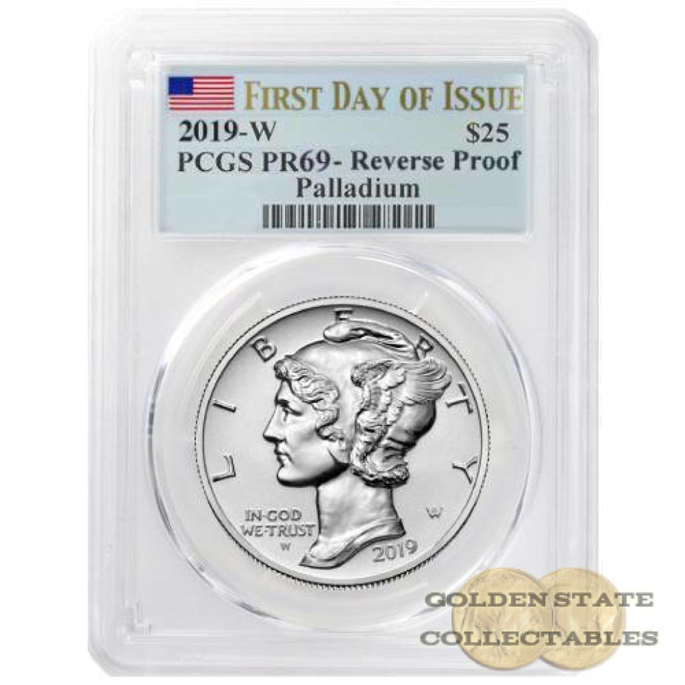 2019 W $25 Palladium Rev. Proof PCGS PR69 First Day Of Issue FLAG LABEL