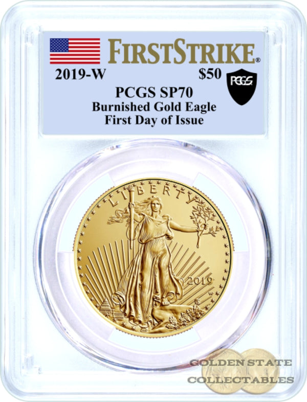 2019-W $50 Burnished Gold Eagle Pcgs Sp70 First Strike + Day Of Issue Black Shield Label