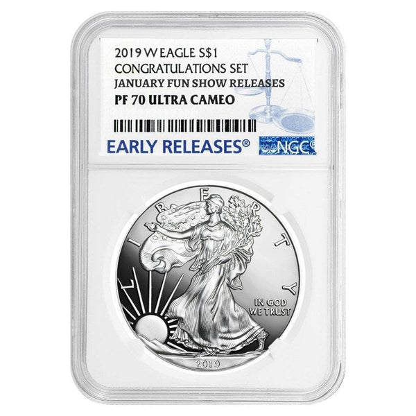 2019-W $1 Proof Silver Eagle NGC PF70 January Fun Show Releases