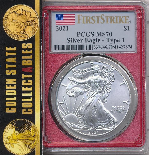 2021 $1 Type 1 Silver Eagle PCGS MS70 First Strike