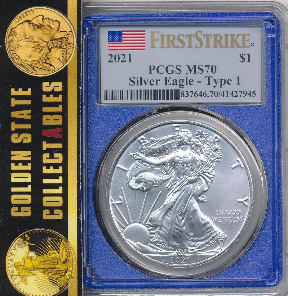 2021 $1 Type 1 Silver Eagle PCGS MS70 First Strike - Limited Edition BLUE