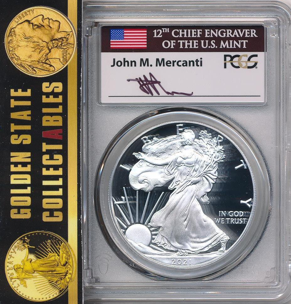 2021 $1 Type 1 Silver Eagle PCGS MS70 First Day of Issue Mercanti Signature - LOW POP