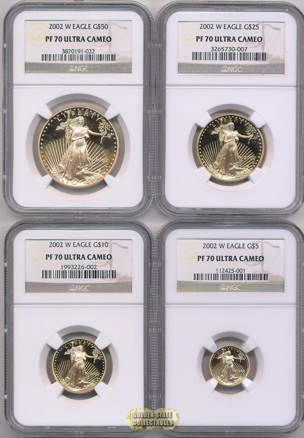 2002 W $50/$25/$10/$5 Gold Eagle Mint Set NGC PF70 UCAM (4 Coin Set)