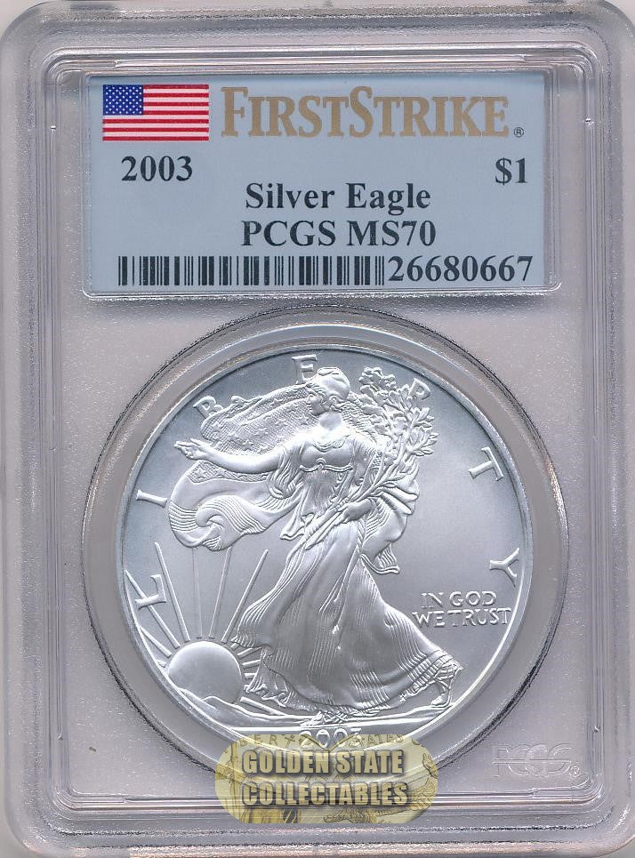 2003 $1 Silver Eagle PCGS MS70 First Strike