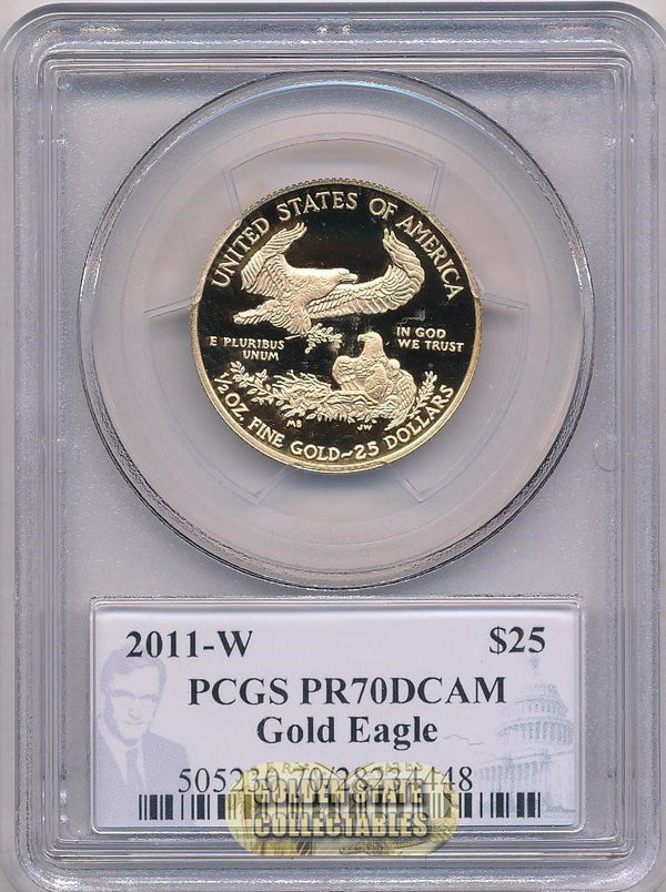 2011 W $25 Gold Eagle PCGS PR70 DCAM Diehl Signature Label