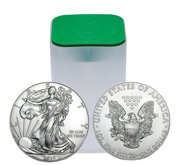 1 Tube - 2019 $1 Silver American Eagle 1 oz. Ungraded (20 coins per tube)