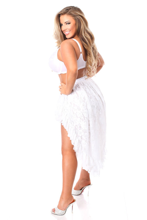 Plus Size White Lace High Low Lace Skirt
