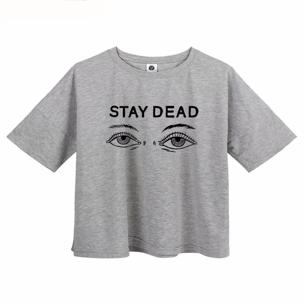 STAY DEAD | CROP T-shirt| Pink Black Grey White