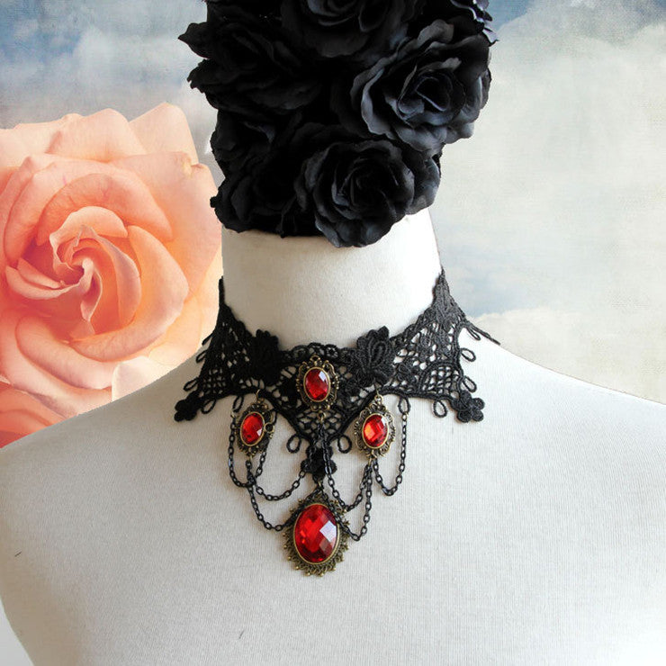 Vintage Gothic Victorian Lace Red Gem Chocker Necklace