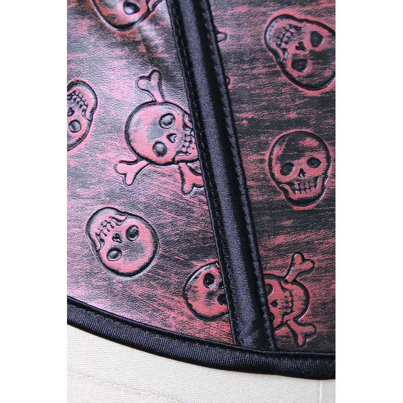 Red Leather Skulls Corset