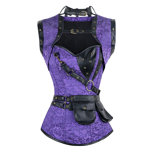 Steampunk Gothic Vintage Purple Steel Boned Overbust Corset for Halloween
