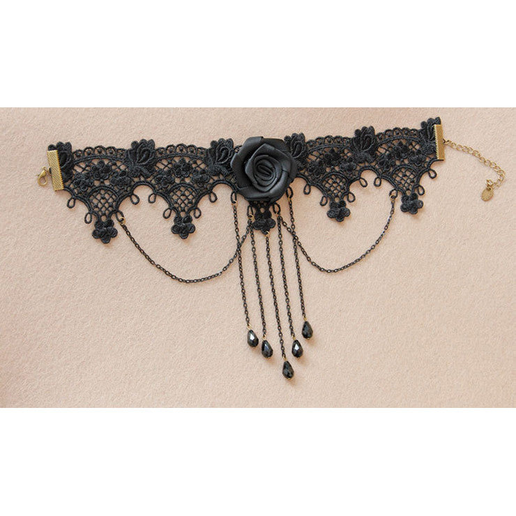 Victorian Black Rose Lace Cameo Choker Necklace