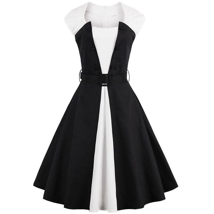 Black&White Patchwork Cocktail Swing Dress