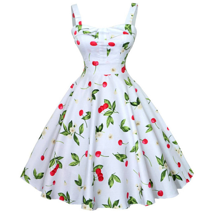 Charming 1950's White Vintage Cheery Print Casual Swing Dress