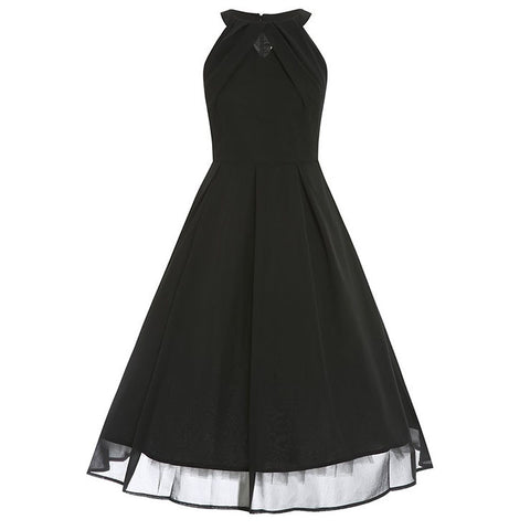 Vintage Black Short Sleeves Swing Rockabilly Ball Party Casual Dress