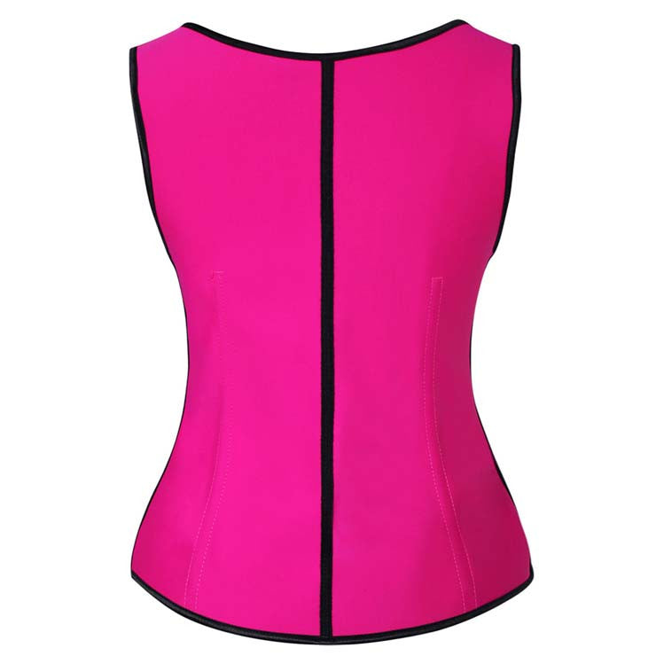 Hot Sale Hot-Pink Latex Steel Bone Vest Underbust Corset