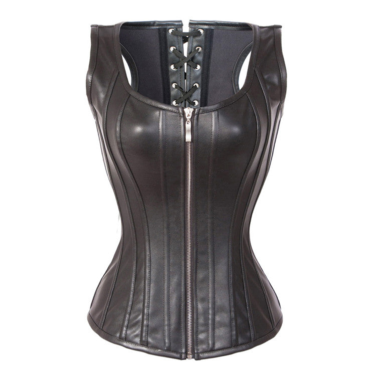 Fashion Black Steel Boned Zipper Vest Corset