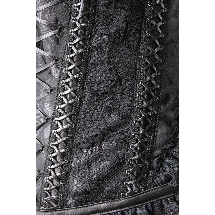 Fashion Steel Boned Black Jacquard Lace Trim Overbust Corset