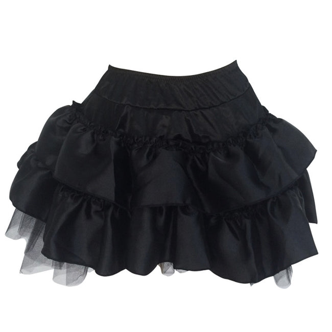 Hot Sale Fashion Black Satin Pleated Plus Size Skirt