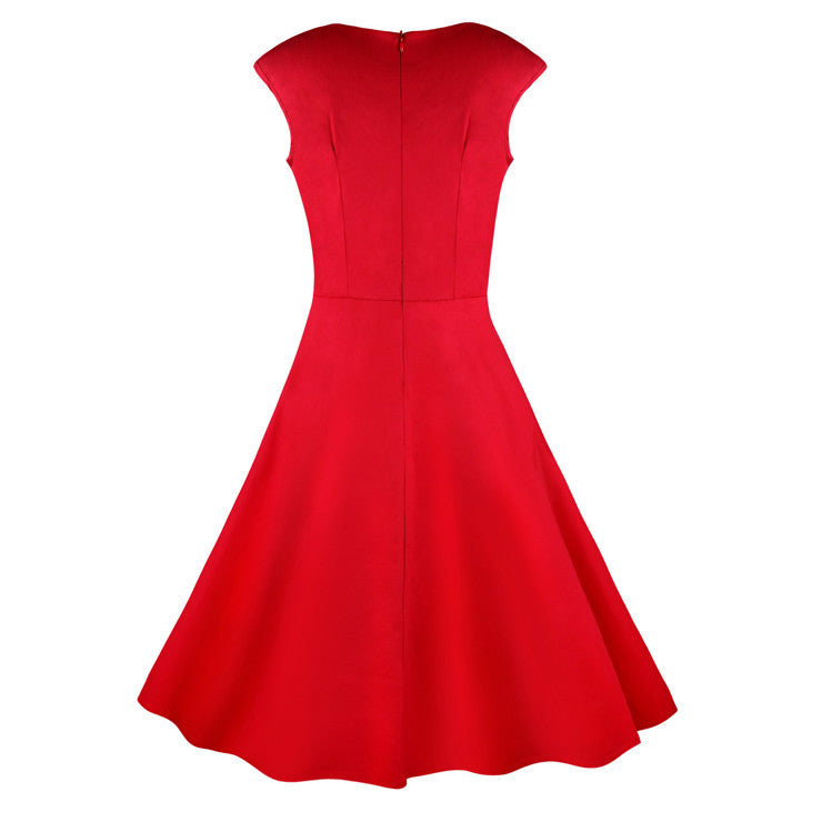 1950's Vintage Retro Red Cotton Party Cocktail Swing Tea Dress