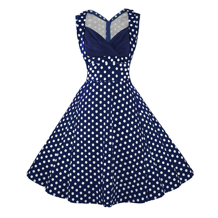 Women's 1950's Vintage Blue Polka Dot Cut Out V-Neck Casual Party Cocktail Dress