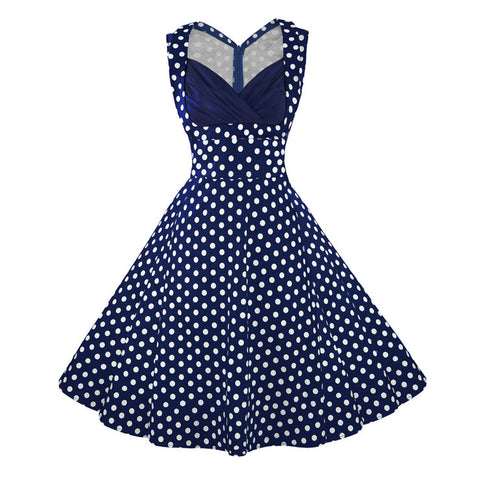 Sexy Vintage Polka Dot Print Patchwork Halter Cocktail Party Dress
