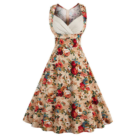 Elegant Vintage Sleeveless Floral Print Dress For Women