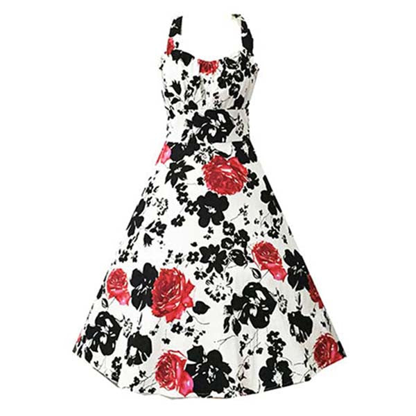 Elegant 1950's Vintage Halter Floral Print Casual Swing Dress