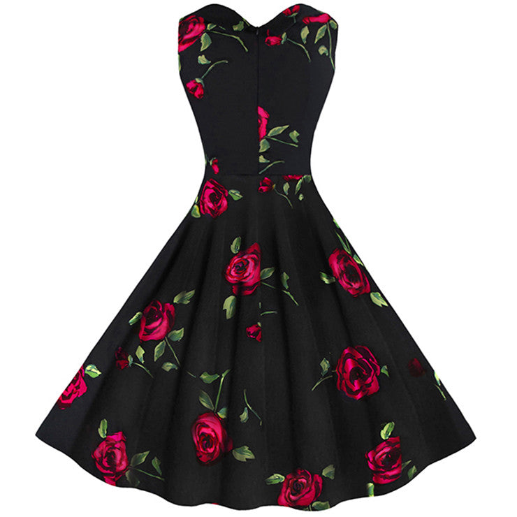 Women's 1950's Vintage Floral Cut Out Sweetheart Neck Casual Party Cocktail Dress