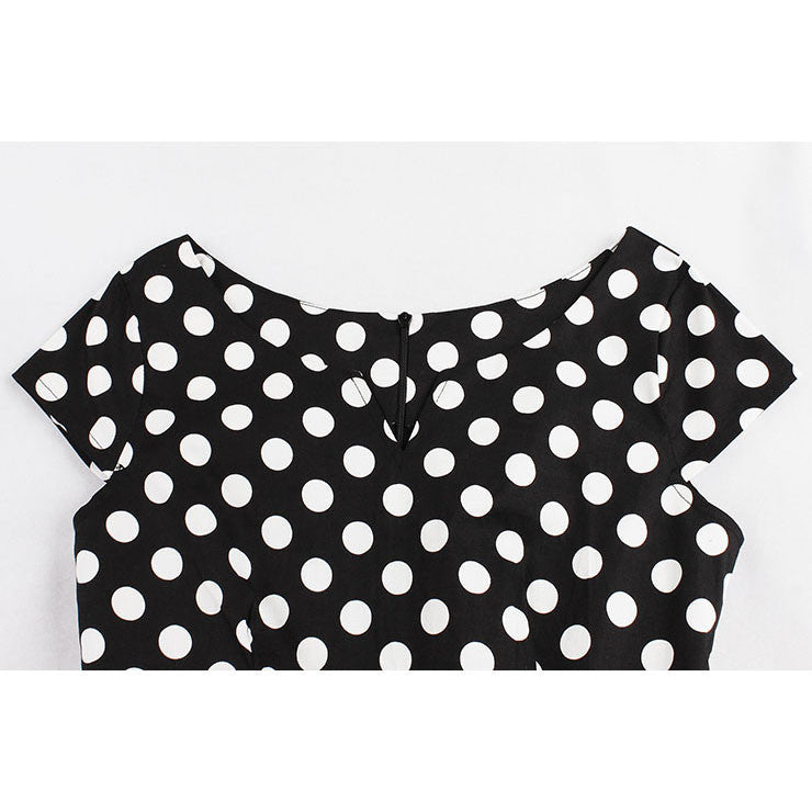 1950's Vintage Polka Dot Casual Swing Dress